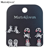 martejoven-cavalier-king-charles-spaniel-stud-earrings-set-for-women-dog-lover-jewelry-cute-kung-fu-dog-studs-sets-5-pairsset
