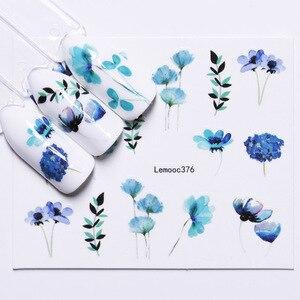 Image 3 - LEMOOC tırnak transferi çıkartmalar renkli çiçekler kelebek su çıkartmaları DIY İpuçları karışık desenler Nail Art Sticker dekorasyon