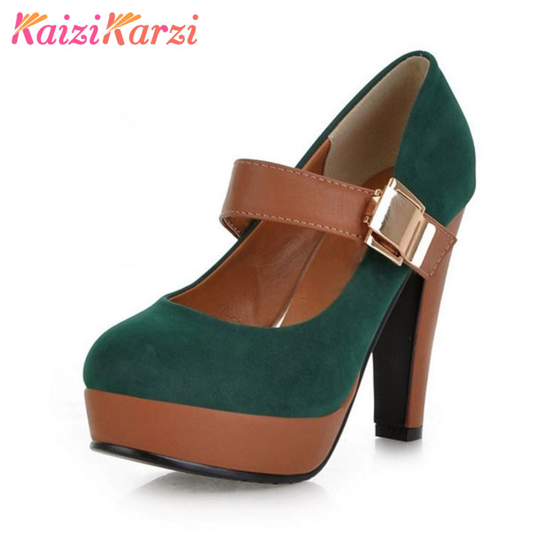KaiziKarzi Women High Heel Shoes ankle strap Stiletto Lady Quality Footwear Platform Fashion Heeled Pumps Heels Shoes Size 34-43 platform high heeled stiletto pumps
