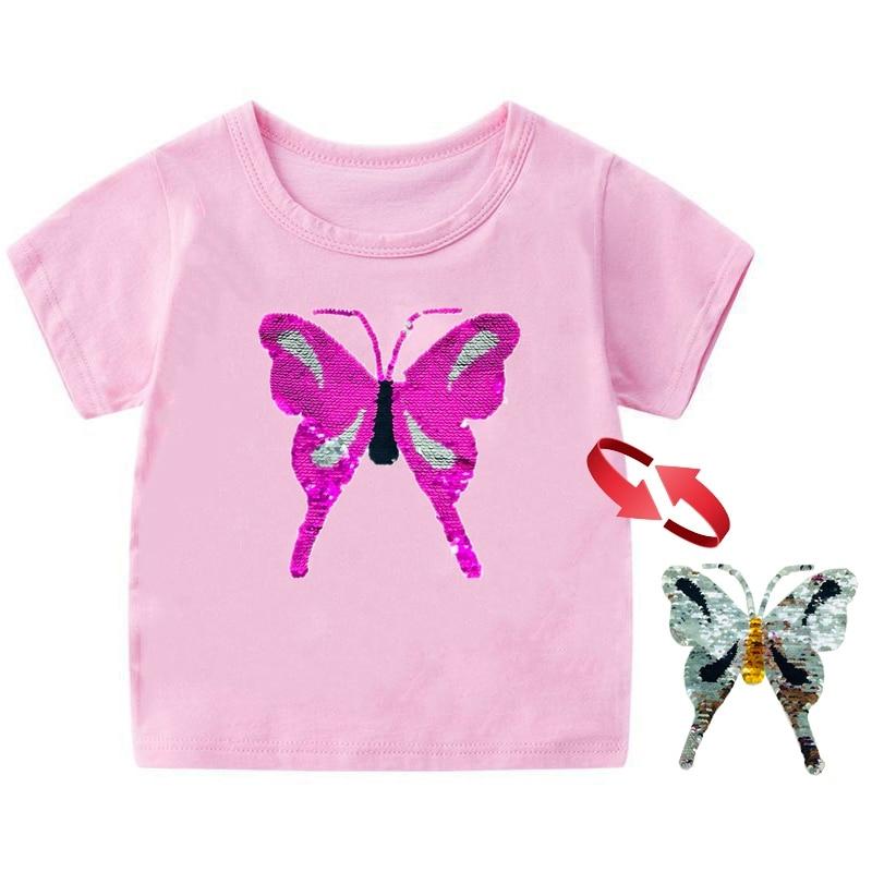 borboleta crianças t-shirts menino menina t camisa