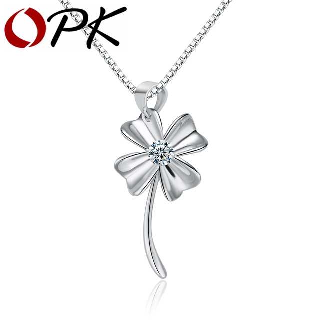 OPK Elegent 925 Sterling Silver Necklace Four Leaf Clover Inlaid Dazzling Cubic Zirconia Box Link Chain Valentines Gift HD069