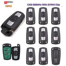 KEYECU 10PCS KYDZ สมาร์ทคีย์ 3 ปุ่ม FOB สำหรับ BMW 3/5 Series X1 X6 Z4 868MHZ พร้อม ID7944 ชิป