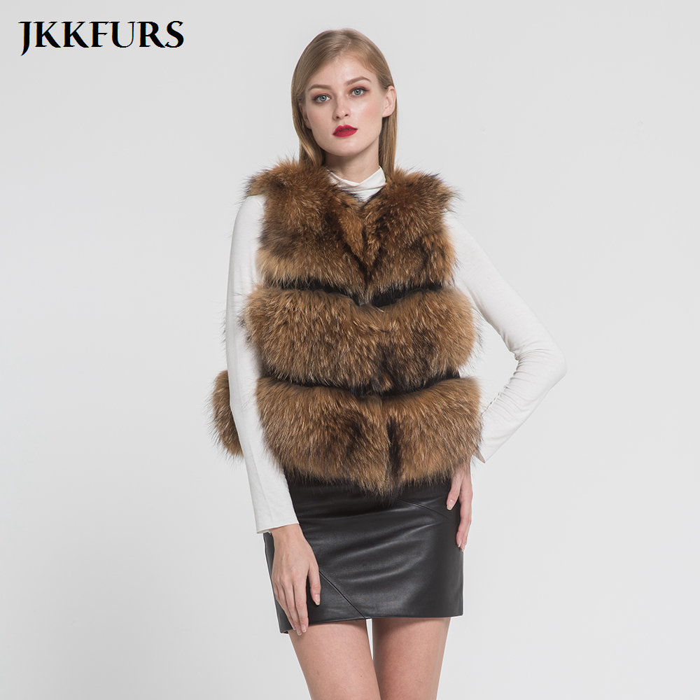 2019 Real Raccoon Fur Gilet Women s Fashion Style Vest Winter Thick Warm Best Quality New