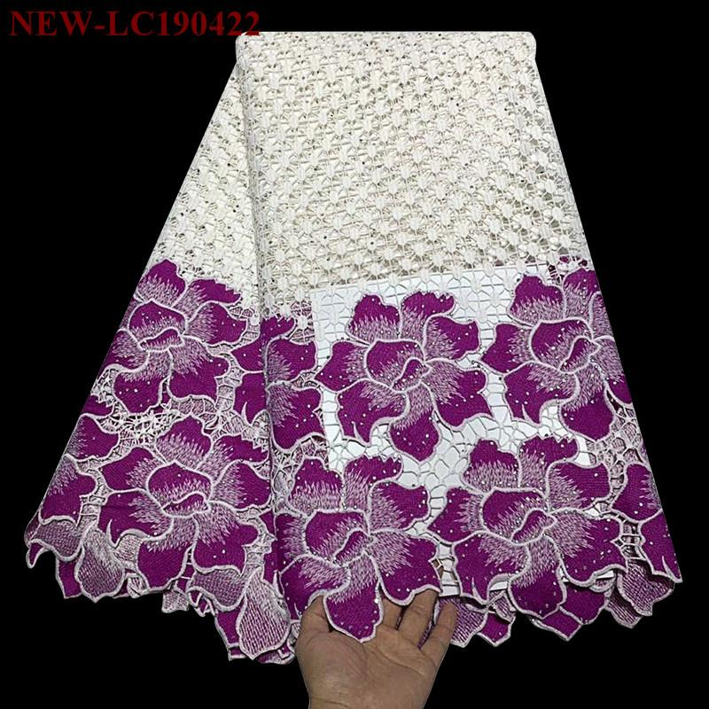 African Guipure Cord Lace Fabric 2019 High Quality Embroidery Stones Water Soluble Nigeria Lace Fabric For