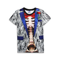 2018 Faux Real Skulls Funny Muscle Bow 3D Print T shirt Men Pullover Top Unisex Casual Homme Children Costume