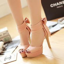 stiletto bow dress party shoes 2014 summer new women sexy Pumps Peep Toes platform 14CM super high heels sandals big size 32-42