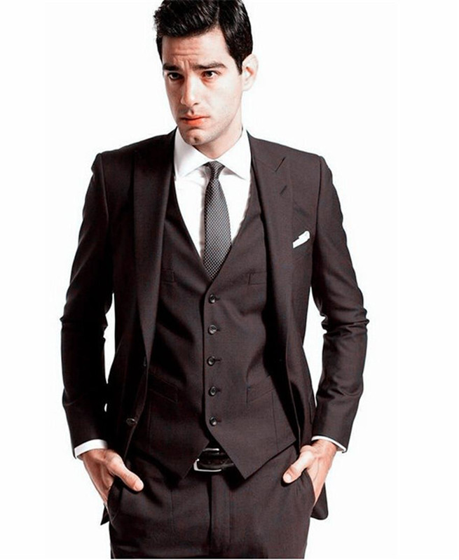 2016 Custom Made Mens' Wedding Tuxedos Groom Dark brown Suits ...