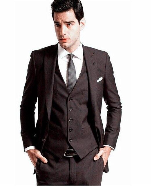 2016 Custom Made Mens Wedding Tuxedos Groom Dark Brown Suits Bridal Blazers Dinner Suit
