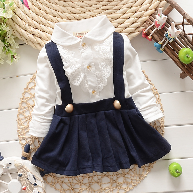 2015 New Autumn Winter Lace Patchwork Girls Dress Faux 2pcs Kids Clothes Baby Trap Dress Cute Long Sleeve Baby Girl Dress