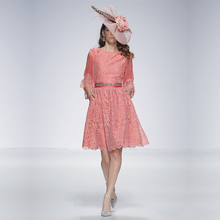 Customized Vestidos de Noite Neue Rosa Spitze Kurz Formale Kleid U-ausschnitt V Zurück Drei Viertel Sleeve Abendkleider 2016