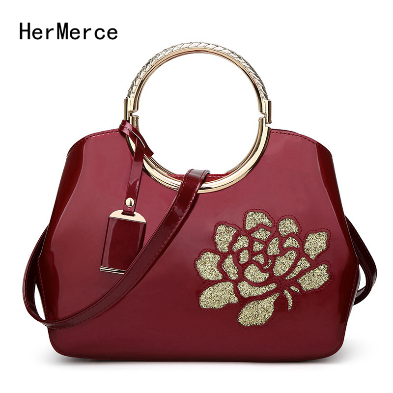 HerMerce New Fashion Women Bags Patent Leather Bag Shells Ladies Shoulder Bag Elegant Ladies Handbag Bolsa Feminina patent leather handbag shoulder bag for women