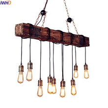 IWHD American Country Wooden LED Pendant Lights Fixtures Dinning Room Restaurant Vintage Lamp Industrial Lighting Loft Style vintage loft industrial american country black spider lamp hemp rope pendant lights for coffee shop dinning room
