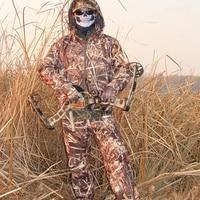 Hombres 3D hierba como impermeable a prueba de viento caza ropa chaqueta y pantalón conjuntos en realgrass camuflaje táctico ropa de francotirador deporte abrigo y pantalón transpirable traje