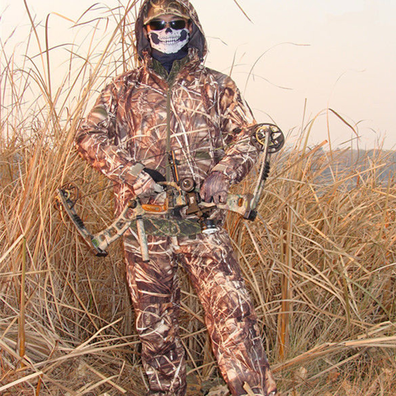 Mens 3D Water resistant Windproof Sedge Reed Hunting Clothes Camo Hunting Tactical Ghillie Suit Sniper Camouflage Clothing