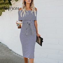 Hot style summer fashion one-word strapless back with stripe dress for women multi-color 415(China)