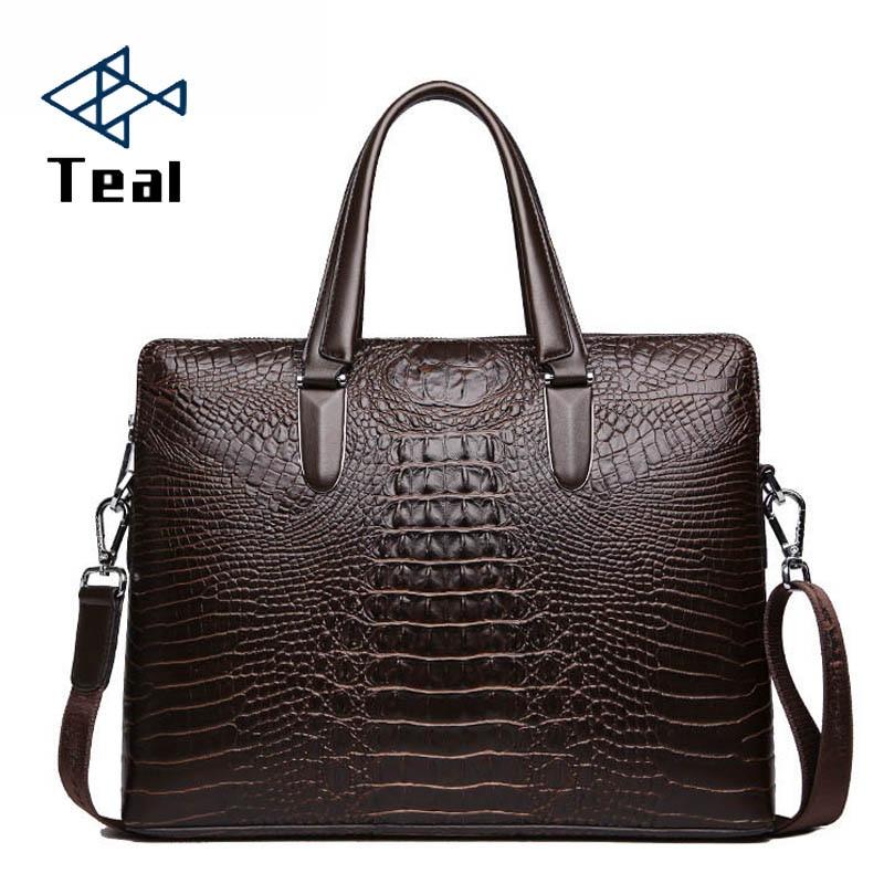 New Fashion Men Bag Men's Briefcase Luxury Designer Notebook Business Male Bag Crocodile Pattern Bag Vintage Laptop High Quality