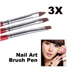 1Set/3PCS Soft and Professional Pen UV Gel Drawing Painting Nail Art Brushes Manicure Tools  88 SK88