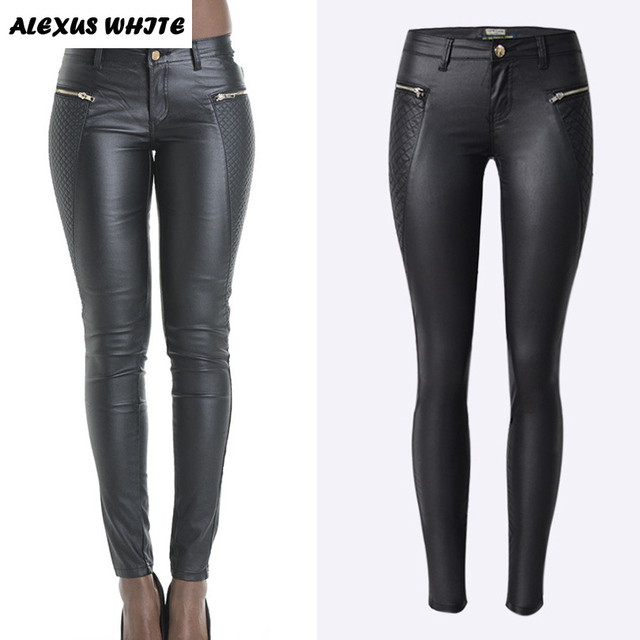 Pop Low Waist Pencil Pants Women Autumn 2018 Zipper Leather Pantalon Fashion Ladies PU Skinny Trousers