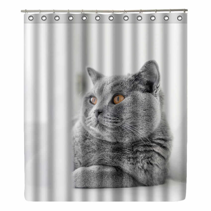 WONZOM Cat Shower Curtain Waterproof Wolf Bathroom Curtain Modern Animal Frog Bath Curtain With 12 Hooks Accessories Home Decor
