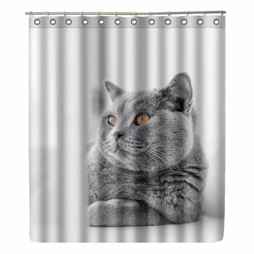 Wonzom القط حيوان ضفدع حمام دش الستار ستارة الحمام للماء الذئب الحديث الستار مع 12 خطاف اكسسوارات ديكور المنزل