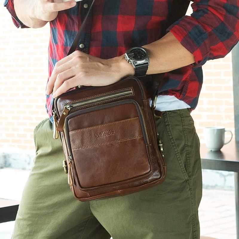 все цены на CONTACT'S New Collection 2017 Fashion Men Bags Genuine Leather Messenger Bag High Quality Man Brand Business Bag Men's Handbag онлайн