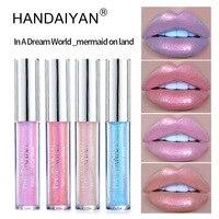 HANDAIYAN Matte Mermaid Glitter Liquid Lipstick Set Long Lasting Shiny Pigmented Lip Gloss Shimmer rose Lip Tint Waterproof Health & Beauty