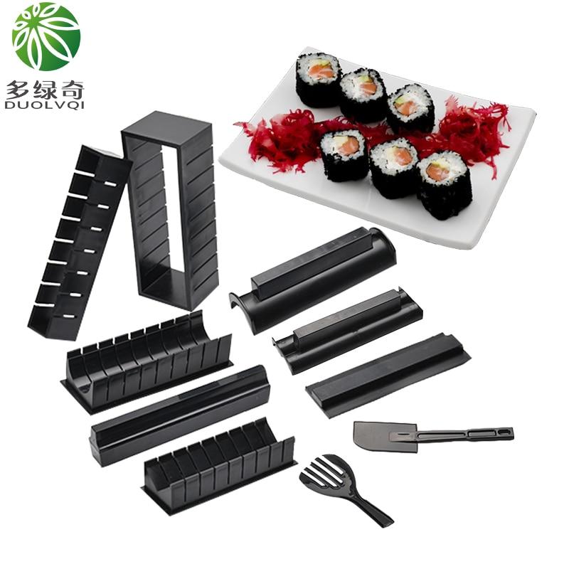 DUOLVQI-Kit de fabrication de Sushi 10 pièces | Nouveau, bricolage, facile, ensemble de machines à Sushi, moule à rouleau de riz, coupe-rouleau, outils de cuisine