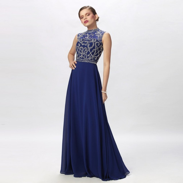 f653cafaca1 Royal Blue High Neck Prom Dresses Long 2016 Simple Chiffon Sleeveless  Beaded Floor Length A-