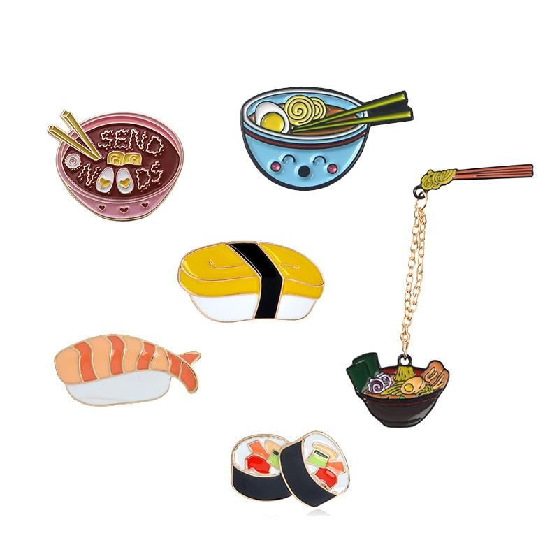 Cartoon Ramen Sushi Enamel Pins Cute Japanese Foods Tonkotsu Noodles Brooches Denim Shirt Collar Lapel Pins Badge Jewelry Gifts