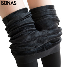 BONAS Winter Warm Pantyhose Tights High Elastic Waist Velvet Legins Thick Tights Female Plus Size Collant Stretchy Pantyhose