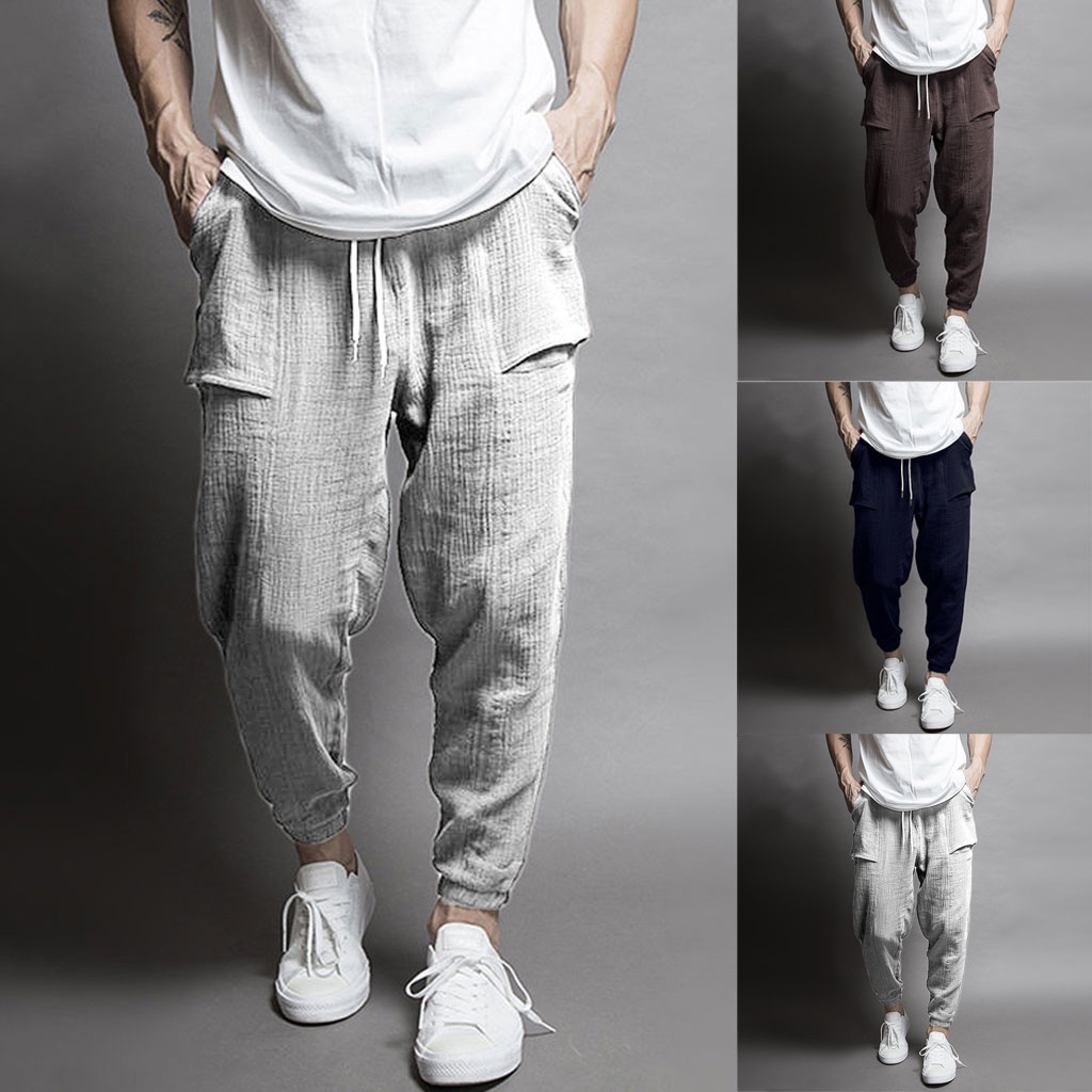 New Men Splicing Printed Overalls Pocket Sport Work Casual Trouser Pants Linen Pantalones Hombre Streetwear Joggers Sweatpants