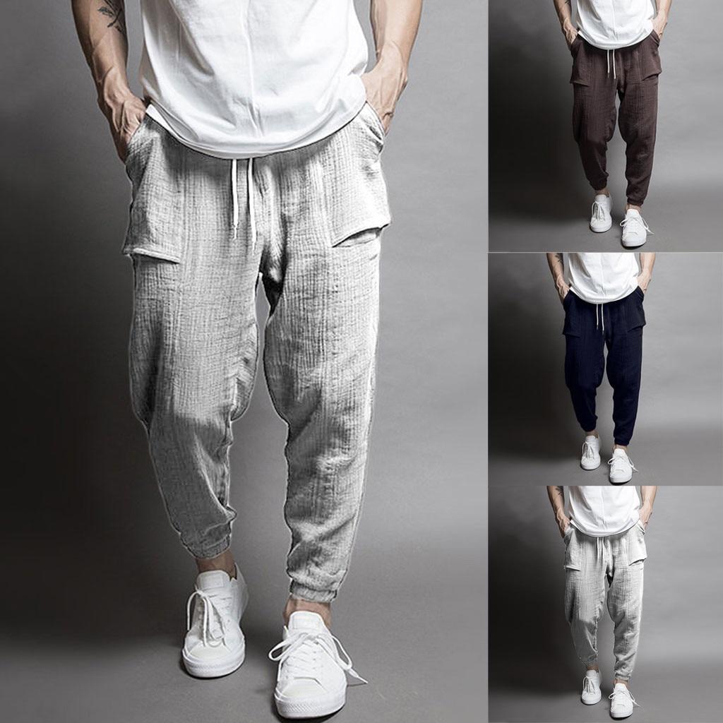New Men Splicing Printed Overalls Pocket Sport Work Casual Trouser Pants Linen Pantalones Hombre Streetwear Joggers Sweatpants