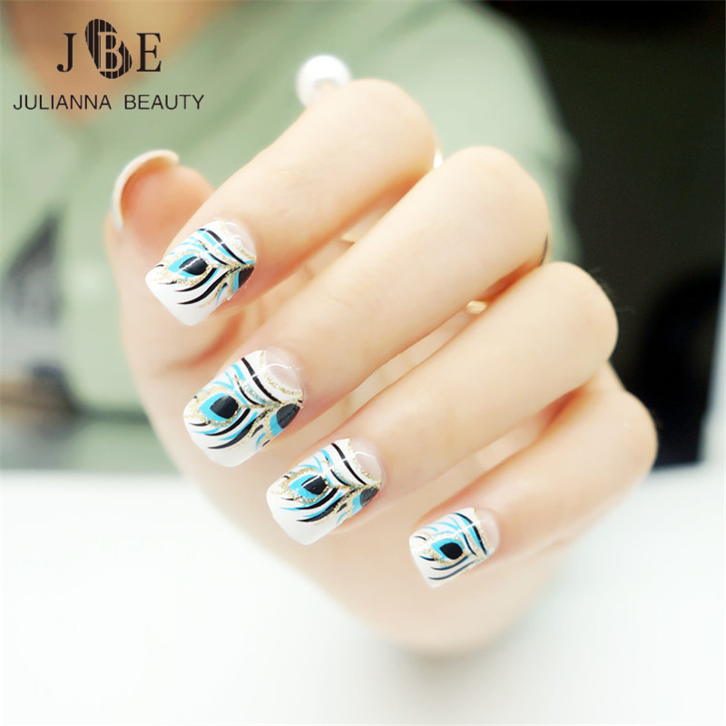 Online Shop 24pcs Fashion Fake Nail Tips Artificial Nails Extension ...