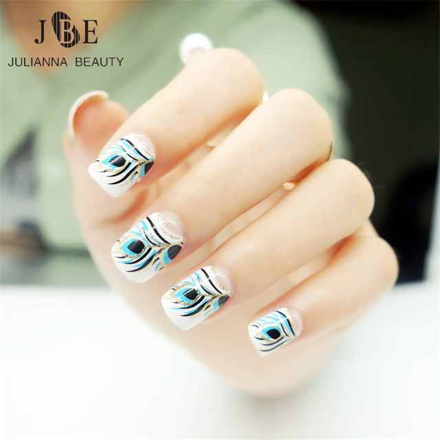24pcs Fashion Fake Nail Tips Artificial Nails Extension Design Fake ...