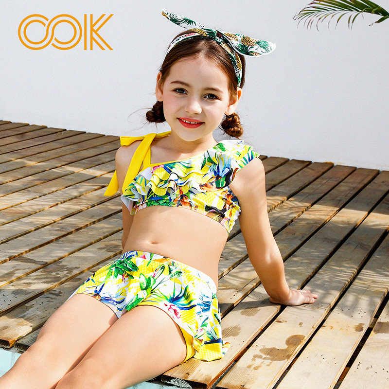 c5f7a2aad92b Detail Feedback Questions about Kids Bathing Suits Girls Two Piece Pleats  Print Bikini children Skirt Swimwear for girl infant swimsuit girl child  Summer ...