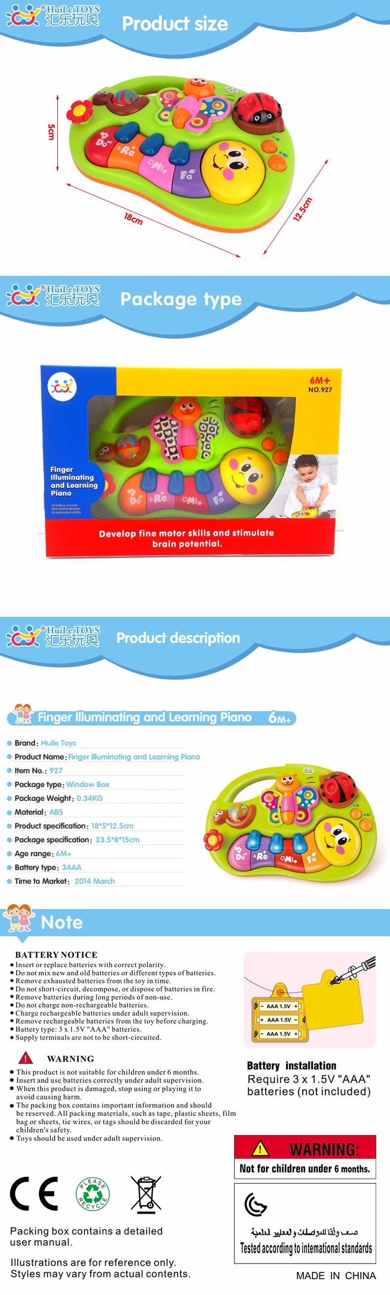 Musical Instrument Toys Toddler Learning Machine Toy with Lights