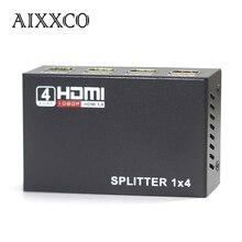 AIXXCO 4 Port 3D HDMI Splitter 1X4 HDMI 1.4 Distribuidor HDMI Plein HD 1080 P 1 en 4 out HDMI avec Câble Pour HDTV DVD