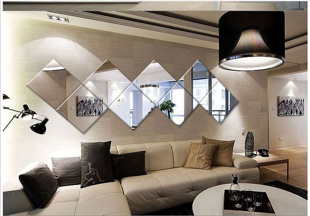 4Pcs Square Mirror Tile Wall Stickers 3D Decal Mosaic Home Room Decoration  DIY For Living Room