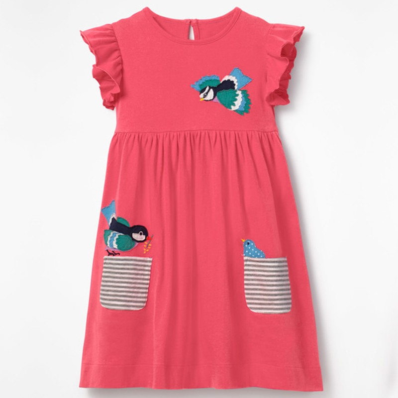 2018 Kids Dresses For Girls Clothes Cloth Embroidery Cartoon Baby Girl Dress Floral Children Beach Casual Summer Clothing 2-6Y