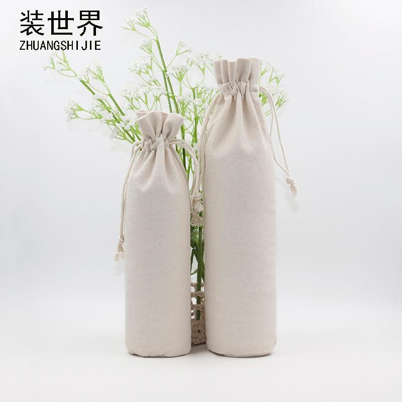 1 Pcs 7*29cm Custom Logo Printed Cotton Storage Canvas Bags Drawstring Bag Food Bottle Pouch Bag Wholesale Price