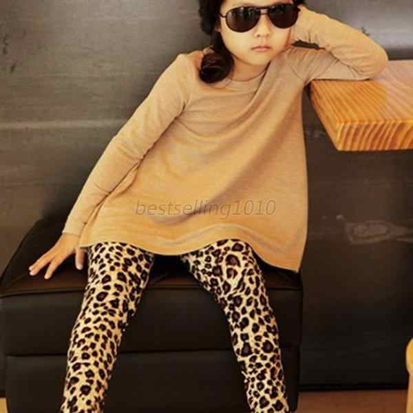 51c5b95cd7ad ... Cotton Blend Girls Kids Stretch Full Length Leopard Animal Print  Legging Pants Trousers XS-XL