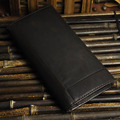 Men Oil Wax Genuine Leather Business Wallet Long Designer Vintage Purse Mobile Phone Coin Pocket Card Holder Bifold Wallets New