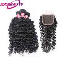 Addbeauty бразильский глубокая волна натуральная Человеческие волосы расслоения с 4*4 Синтетические волосы на кружеве для салона может быть Цветной 613 # Бесплатная доставка