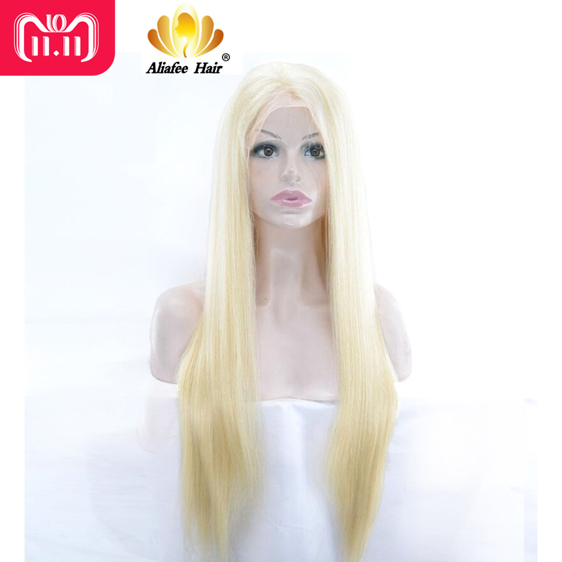 AliAfee Hair Blonde Lace Front Human Hair Wigs 8-30 Brazilian Straight #613, #1b/613 Color Ombre Human Hair Wig 150% Density