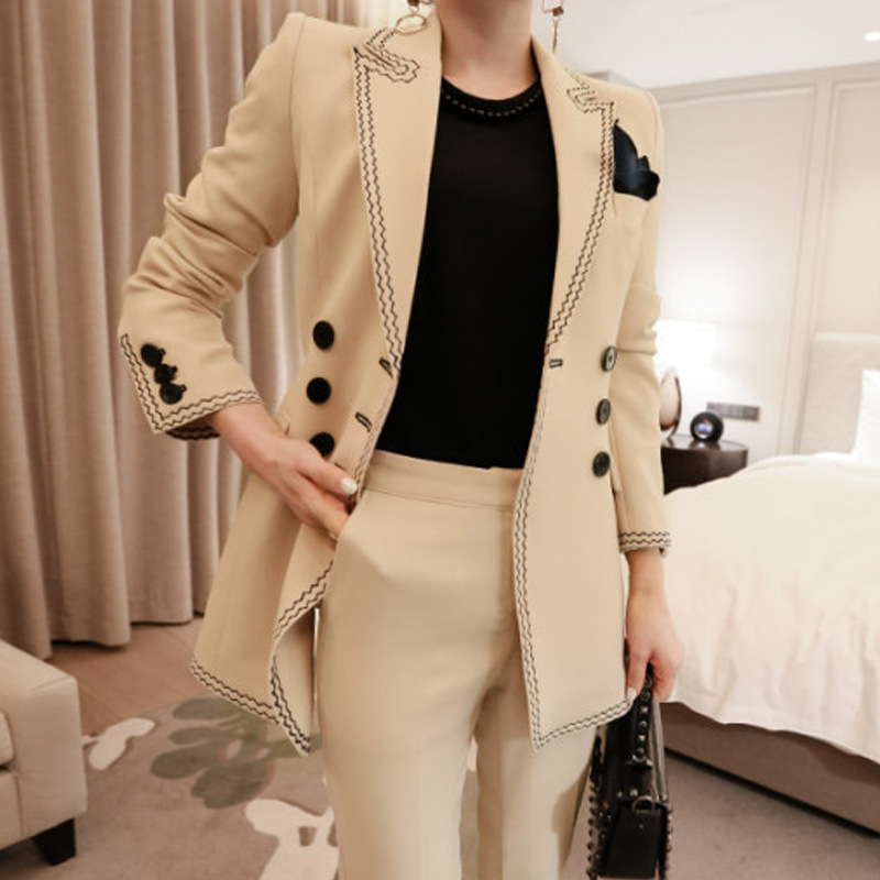 New Arrival Women Professional Temperament Double Breasted Fashion Warm Solid Suit Embroidery Slim Pant Comfortable Pant Suits