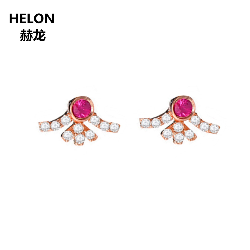 Women Natural Diamonds Earrings Solid 14k Rose Gold Natural Ruby Stud Earrings Fine Jewelry Classic 18 k rose gold with natural ruby ring female fine jewelry classic contracted the flower shape