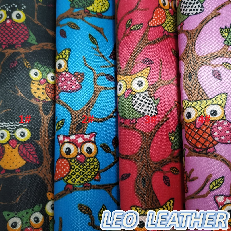 1PCS 21x29cm A4 SIZE Synthetic Leather, PU Leather with Printed Owl For DIY Accessories S102A