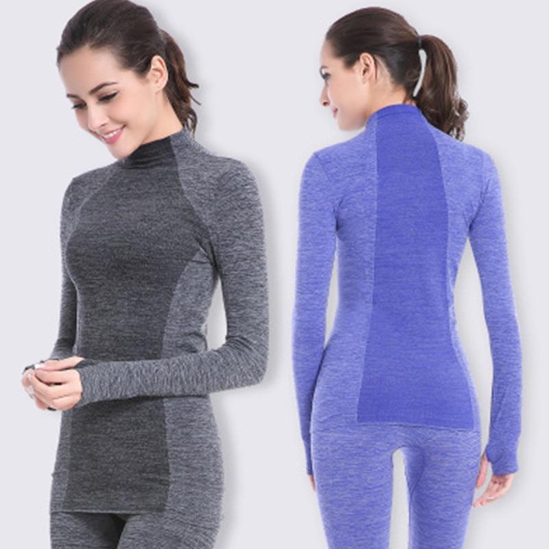 2018 新ブランドトラックスーツ熱下着の女性の冬速乾性高弾性下着熱パック女性暖かいツーピースセット