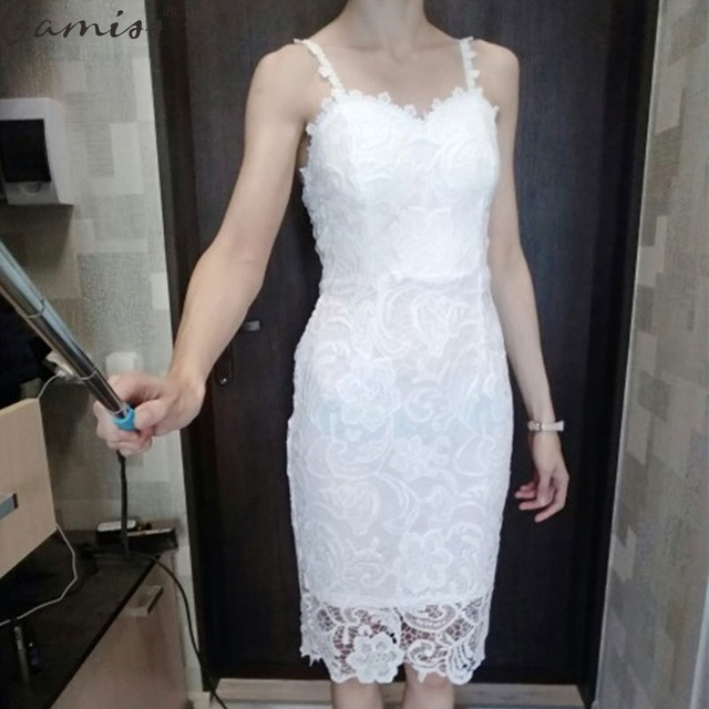 e9dd9908f47c Sexy Hollow Out White Lace Dress Women Spring High Waist Sleeveless  Backless Dress Elegant Christmas Maxi Long Dress Vest