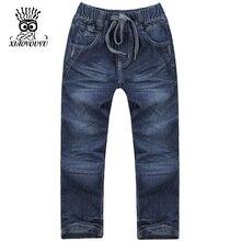 XIAOYOUYU Taille 120-160 cm Garçons Casual Denim Pantalon Bonne Marque Élastique Taille Droite Conception Enfants Mode Jeans